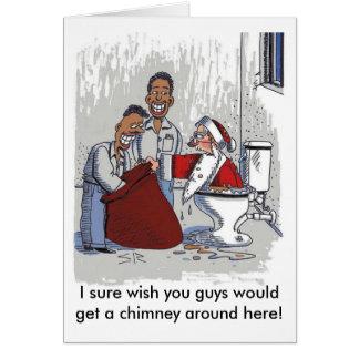 Santa comes up the toilet card