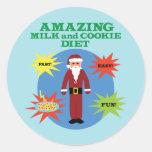 Santa Cookie Diet Round Stickers
