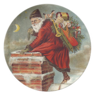 Santa Cookie Plate- Old World Santa Down Chimney Plate