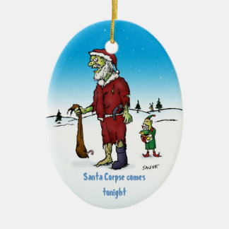Santa Corpse Funny Zombie Holiday Ornament