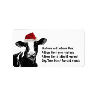 Santa Cow - Dairy Cow wearing Santa Hat Address Label