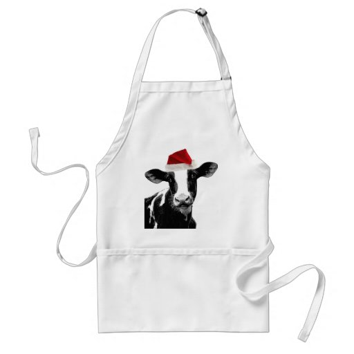 Santa Cow - Dairy Cow wearing Santa Hat Apron