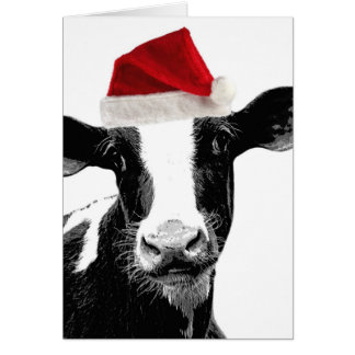 Santa Cow - Dairy Cow wearing Santa Hat Card