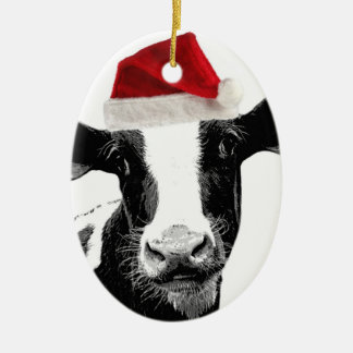 Santa Cow - Dairy Cow wearing Santa Hat Christmas Ornament