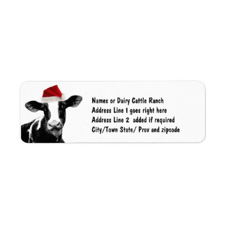 Santa Cow - Dairy Cow wearing Santa Hat Return Address Label