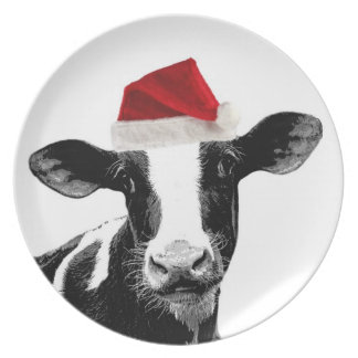 Santa Cow -Holstein Dairy Christmas Cow Plate