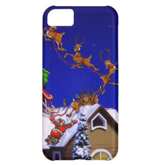 Santa crashing on a rooftop cover for iPhone 5C