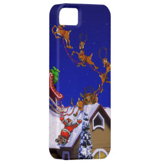 Santa crashing on a rooftop iPhone 5 covers
