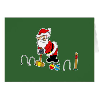 santa croquet with ornaments card