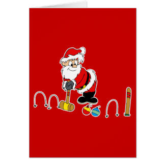 santa croquet with ornaments note card