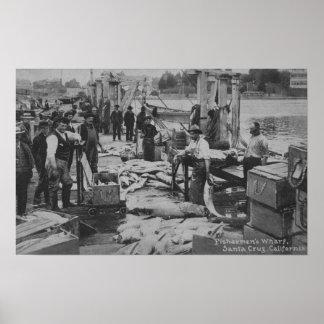 Santa Cruz, CA - Fisherman's Wharf Scene Poster