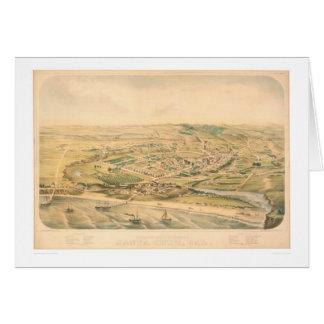 Santa Cruz, CA. Panoramic Map (1586A) - Restored Greeting Card