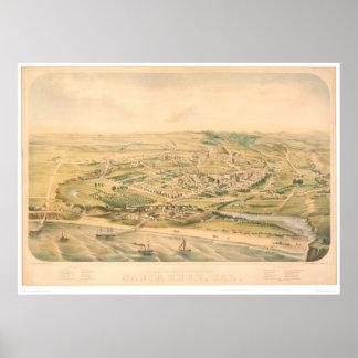 Santa Cruz, CA. Panoramic Map (1586A) - Restored Poster