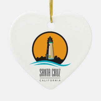 Santa Cruz California Lighthouse Ceramic Heart Decoration