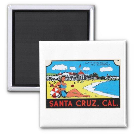 Santa Cruz, California Luggage Label Vintage Magnet
