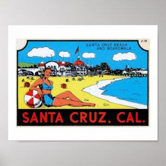 Santa Cruz, California Luggage Label Vintage Poster
