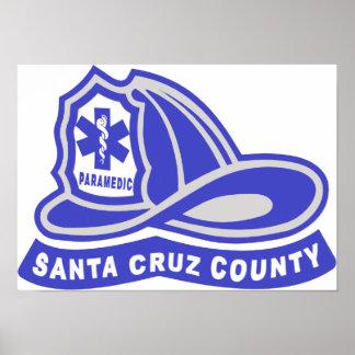Santa Cruz County Paramedic Helmet Logo Poster
