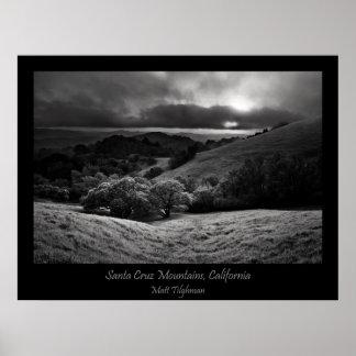 Santa Cruz Mountains in Black and White Print