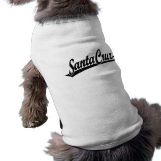 Santa Cruz script logo in black distressed Shirt