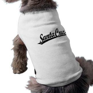 Santa Cruz script logo in black distressed Sleeveless Dog Shirt