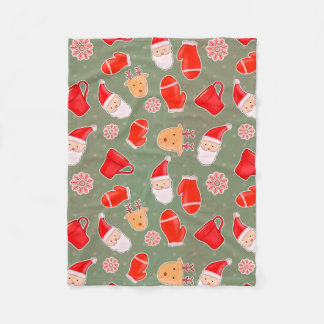 Santa Cute Christmas Pattern Green Fleece Blanket