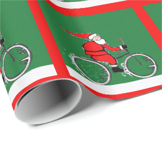 Santa Cyclist Wrapping Paper