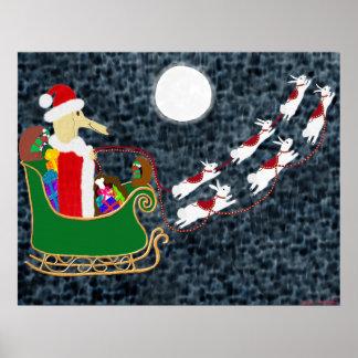 Santa Dachshund Poster