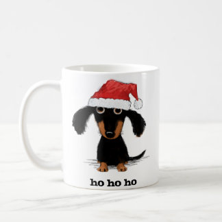 Santa Dachshund with Customizable Text Basic White Mug