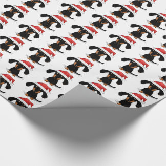 Santa Dachshunds Christmas Pattern Wrapping Paper