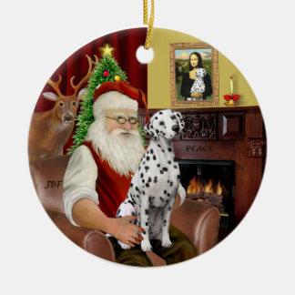 Santa-Dalmatian Round Ceramic Decoration