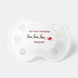Santa Deer Cart First Christmas Pacifier