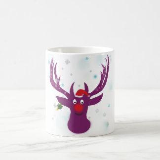 Santa Deer New Year Cartoon  Classic White Mug