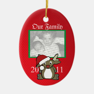 Santa Deer Photo Christmas Ornament