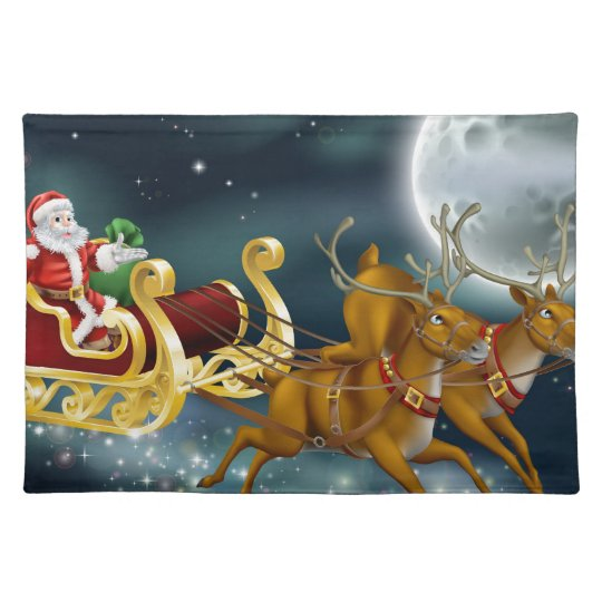 Santa Delivering Gifts on Christmas Eve Placemat