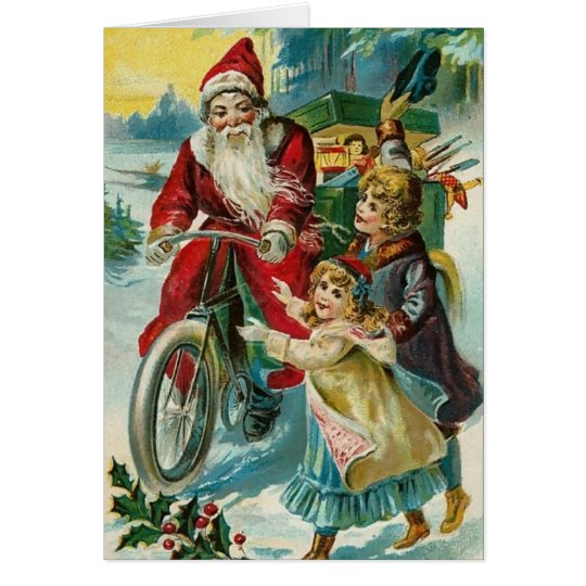 Santa Delivering Presents on A Bicycle Card