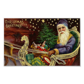 Santa Delivering Toys Posters
