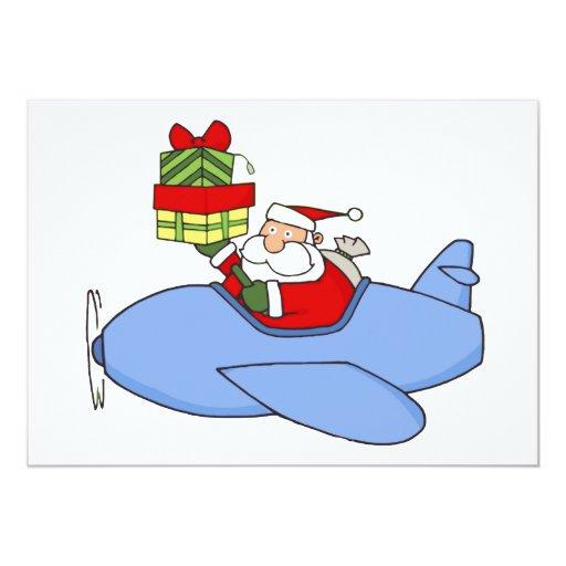 Santa Delivers Presents in Aeroplane 13 Cm X 18 Cm Invitation Card
