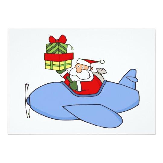 Santa Delivers Presents in Aeroplane Card
