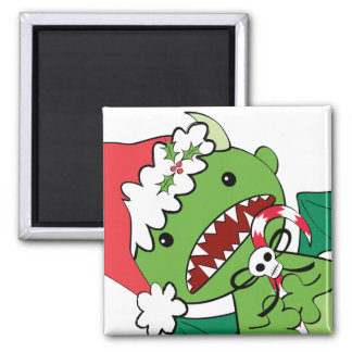 Santa Devil with candy cane Fridge Magnets