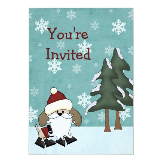 Santa Dog Christmas Holiday Birthday Invitation