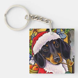 Santa Dog Dachshund Christmas Square Keychain