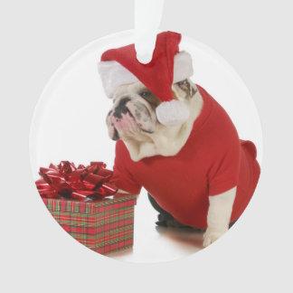 Santa Dog - English Bulldog Dressed Like Santa Ornament