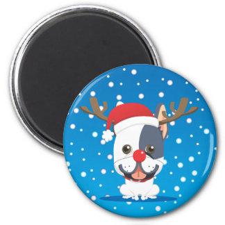 Santa dog Reindeer 6 Cm Round Magnet