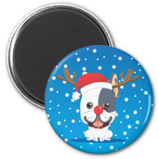 Santa dog Reindeer Magnet