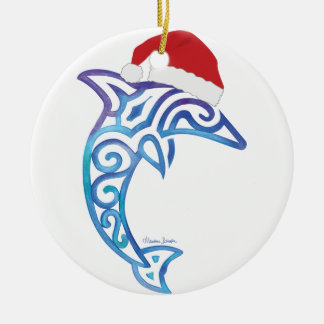 Santa Dolphin Christmas Ornament