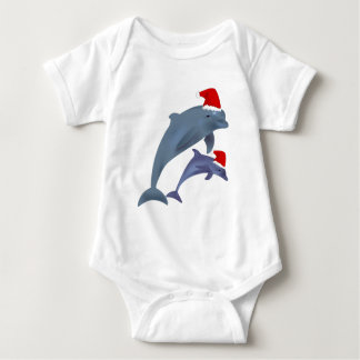 santa dolphins baby bodysuit
