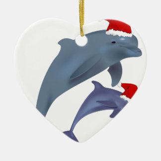 santa dolphins christmas ornament