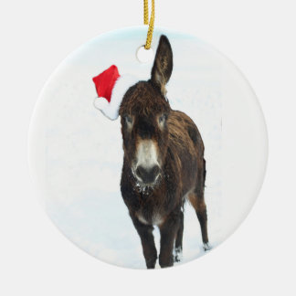 Santa Donkey Christmas Ornament