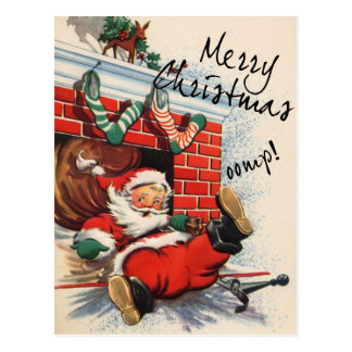 Santa Down the Chimney Oomph Postcard