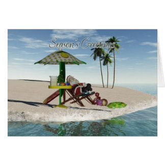 Santa Drinking Lemonade On The Beach Card